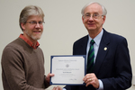 Dr. Scott Meiners, Biological Sciences, with Dr. William L. Perry, President