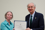 Dr. Mary Konkle, Chemistry, with Dr. William L. Perry, President