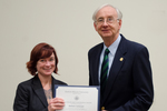 Dr. Barbara Carlsward, Biological Sciences, with Dr. William L. Perry, President