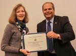 Julie Campbell, ACA winner for Balanced, with President David Glassman by Jay Grabiec