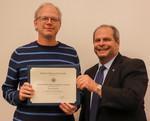Paul Switzer, ACA winner for Service, with President David Glassman by Jay Grabiec