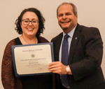 Angela Glaros, ACA winner for Service, with President David Glassman by Jay Grabiec