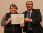 Linda Ghent, ACA winner for Service, with EIU President David Glassman by Jay Grabiec