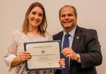 Mariana Juras, ACA winner for Teaching, with President David Glassman by Jay Grabiec