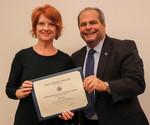 Jill Fahy, ACA Winner for Teaching, with President David Glassman by Jay Grabiec