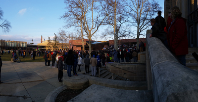 Fund EIU Rally: Crowd from Booth Library steps