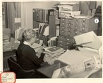 Original Library in Old Main (Head Librarian's Desk) by University Archives
