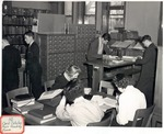 Original Library in Old Main (Card Catalog, Main Reading Room) by University Archives