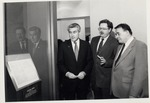 President Stanley G. Rives and Jim Edgar at Lincoln Exhibit by University Archives
