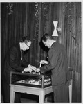President Quincy V. Doudna, with Model of Campus by University Archives