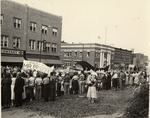 Homecoming Parade, 1956, With Welcome Banner For President Quincy V. Doudna