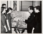 President Quincy V. Doudna Discussing Aerial View Of Campus With Group Of Students