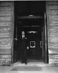 President Quincy V. Doudna At Front Door Of Old Main