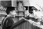 President Quincy V. Doudna Congratulating Student At Commencement