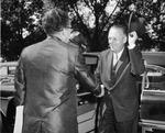 President Quincy V. Doudna Greeting Gov. William G. Stratton