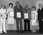 President Fite With Five Meritorious Service Award Winners by University Archives