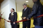 President Louis Hencken at Booth Library Re-Dedication, 2002 by University Archives