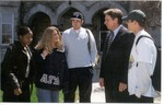 President David Jorns with Students in Front of Old Main by University Archives