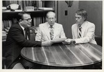 Presidents Rives And Doudna In Discussion With Wilson Luquire, Library Dean