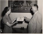 President Buzzard Presenting Diploma To Argola Ives Walk, Burl Ives' Sister by University Archives