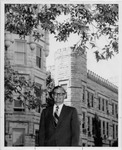 President Gilbert C. Fite in Front of Old Main by University Archives