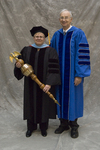 Dr. Pat J. Fewell, Commencement marshal, Dr. William L. Perry, President