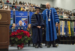 Dr. John Henry Pommier, Chairperson of Faculty Senate, Mr. Aaron T. Wiessing, Student trustee, Ms. Michelle L. Murphy, Student body president, Dr. Janet T. Marquardt, Distinguished faculty award, Dr. William L. Perry, President