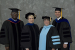 Dr. Godson C. Obia, Commencement marshal, Dr. Mary Anne Hanner, Dean of the College of Sciences, Dr. Andrew Mertz, Faculty marshal, Dr. Joan Henn, Faculty marshal