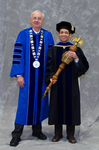 Dr. William Perry, University President, Dr. Peter Liu, Commencement Marshal