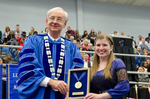 Dr. William Perry, University President, Ms. Rebecca Hunt, Lord Scholar