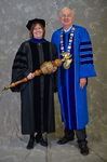 Dr. Linda Simpson,  Commencement Marshal, Dr. William L. Perry, University President