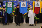 Dr. Charles G. Eberly, Faculty marshal,  Dr. Brent Walker, Faculty marshal, Mr. Ethan L. Ingram, Honors College banner marshal