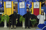 Dr. Leo P. Comerford, Faculty marshal, Dr. Ahmed S. Abou-Zaid, Faculty marshal, Ms. Kara Butorac, Honors college banner marshal
