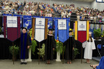 Dr. Richard E. Cavanaugh, Faculty marshal, Dr. Mary Caroline Simpson, Faculty marshal, Dr. Patricia K. Belleville, Faculty marshal, Ms. Kara Butorac, Honors College Banner Marshal