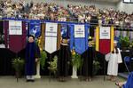 Dr. Richard E. Cavanaugh, Faculty marshal, Dr. Mary Caroline Simpson, Faculty marshal, Dr. Patricia K. Belleville, Faculty marshal, Ms. Kara Butorac, Honors College Banner Marshal