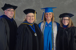 Dr. Douglas Bower, Associate Dean of the College of Education & Professional Studies,Dr. Diane Jackman, Dean, College of Education and Professional Studies, Ms. Brittany Hart, Student Speaker, Dr. Angela Anthony, Student Speaker Mentor