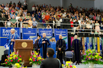 Dr. William L. Perry, President, Dr. Angela Anthony, Student Speaker Mentor, Ms. Brittany Hart, Student Speaker, Dr. Al Bowman, Commencement Speaker, Dr. Gail Richard, Commencement Marshal