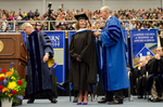 Dr. Blair M. Lord, Provost & Vice President for Acdemic Affairs, Ms. Barbara  A. Baurer, Honorary Degree Recipient and Commencement Speaker, Dr. William L. Perry, University President