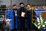 Dr. Gary Aylesworth, Distinguished Faculty Award winner, with President Glassman and Provost Gatrell