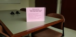 Booth Library, social distancing sign, group study room by Stacey Knight-Davis