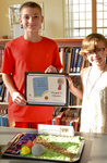 """Sam and Avelynn Dick, winners of the People's Choice Silver award for """"Frog and Toad"""" by Bev Cruse"""