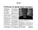 Professor to Speak About Droughts by Cheyenne Fitzgerald