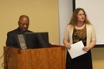 Librarian Stacey Knight-Davis introduces guest speaker Kevin Anderson by Beth Heldebrandt