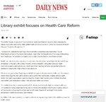 Library exhibit focuses on health care reform by Effingham Daily News