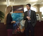 Artist Alicia Post with Dean of Library Services Zach Newell by Beverly Cruse
