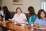 Marlene Slough and Jocelyn Tipton with Mortenson Center visitors