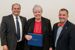 President Glassman and Jay Gatrell, V.P. of Academic Affairs with Joann Daugherty by Beverly Cruse