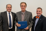 President Glassman and Jay Gatrell, V.P. of Academic Affairs with Karim Ezzatkhah Yenggeh by Beverly Cruse