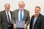 President Glassman and Jay Gatrell, V.P. of Academic Affairs with John Henderson by Beverly Cruse