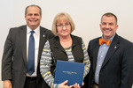 President Glassman and Jay Gatrell, V.P. of Academic Affairs withJoAnn Ingle by Beverly Cruse